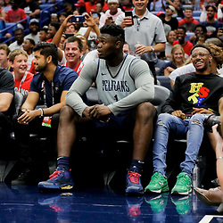 Oct 5, 2019; New Orleans, LA, USA; New Orleans Pelicans forward Zion Williamson (1) reacts after missing a dunk during a open practice at the Smoothie King Center. Mandatory Credit: Derick E. Hingle-USA TODAY Sports