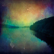 A lake on a very dull and cold winter day. <br />