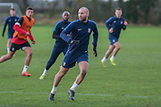 York City midfielder Russell Penn York City FC Training Session at Bootham Crescent, York, England on 27 November 2015. Photo by Simon Davies.