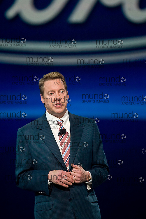 GJR080027 -20080113- Detroit, Michigan-- William Clay Ford Jr., Executive Chairman of Ford Motor Company speaks during Ford's press conference at the 2008 North American International Auto Show at Cobo Arena in Detroit, Michigan, 13 January 2008..AFP PHOTO/Geoff Robins