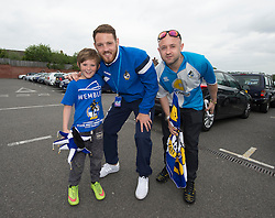 Bristol Rovers player Tom parkes poses for a picture with fans. - Photo mandatory by-line: Alex James/JMP - Mobile: 07966 386802 - 25/05/2015 - SPORT - Football - Bristol - Memorial Stadium -    Bristol Rovers Bus Tour