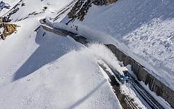 THEMENBILD - eine Wallack Rotationsschneefraese räumt die Strasse nach einem Lawinenabgang. Die Grossglockner Hochalpenstrasse verbindet die beiden Bundeslaender Salzburg und Kaernten und ist als Erlebnisstrasse vorrangig von touristischer Bedeutung, aufgenommen am 23. Mai 2019 in Fusch a. d. Grossglocknerstrasse, Österreich // a Wallack rotary snow plough clears the road after an avalanche. The Grossglockner High Alpine Road connects the two provinces of Salzburg and Carinthia and is as an adventure road priority of tourist interest, Fusch a. d. Grossglocknerstrasse, Austria on 2019/05/23. EXPA Pictures © 2019, PhotoCredit: EXPA/ JFK