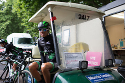 Moniek Tenniglo (NED) of WM3 Pro Cycling Team tries to stay warm before the Prudential Ride London Classique - a 66 km road race, starting and finishing in London on July 29, 2017, in London, United Kingdom. (Photo by Balint Hamvas/Velofocus.com)