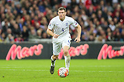 England's James Milner on the ball during the UEFA European 2016 Qualifier match between England and Estonia at Wembley Stadium, London, England on 9 October 2015. Photo by Shane Healey.