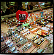 Sushi for sale in a Tokyo department store, Japan.
