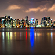 The Miami skyline shimmers on the waters of South Channel, as seen from the Marine stadium.