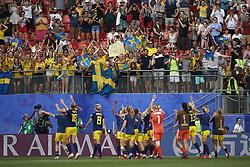 June 29, 2019 - Rennes, France - Sweden players celebrate victory after the 2019 FIFA Women's World Cup France Quarter Final match between Germany and Sweden at Roazhon Park on June 29, 2019 in Rennes, France. (Credit Image: © Jose Breton/NurPhoto via ZUMA Press)