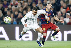 02.04.2016, Camp Nou, Barcelona, ESP, Primera Division, FC Barcelona vs Real Madrid, 31. Runde, im Bild FC Barcelona's Jordi Alba (r) and Real Madrid's Cristiano Ronaldo // during the Spanish Primera Division 31th round match between Athletic Club and Real Madrid at the Camp Nou in Barcelona, Spain on 2016/04/02. EXPA Pictures © 2016, PhotoCredit: EXPA/ Alterphotos/ Acero<br /> <br /> *****ATTENTION - OUT of ESP, SUI*****