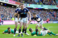 Six Nations 2017<br /> Scotland v Ireland, Murrayfield Stadium, Edinburgh.<br /> <br /> Stuart Hogg celebrates his 1st try<br /> <br /> <br /> <br />  Neil Hanna Photography<br /> www.neilhannaphotography.co.uk<br /> 07702 246823