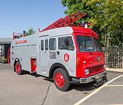 Old Bedford fire engine on display Stonham Barns, Suffolk, England, UK