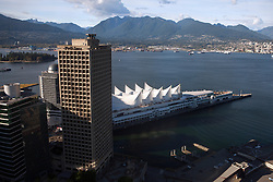 Aerial view of Canada Place, Port of Vancouver and North Shore, Vancouver, British Columbia, Canada