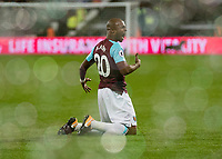 Football - 2017 / 2018 Premier League - West Ham United Vs Huddersfield Town<br /> <br /> Andre Ayew (West Ham United) celebrates after scoring his teams second goal at the London Stadium<br /> <br /> COLORSPORT/DANIEL BEARHAM