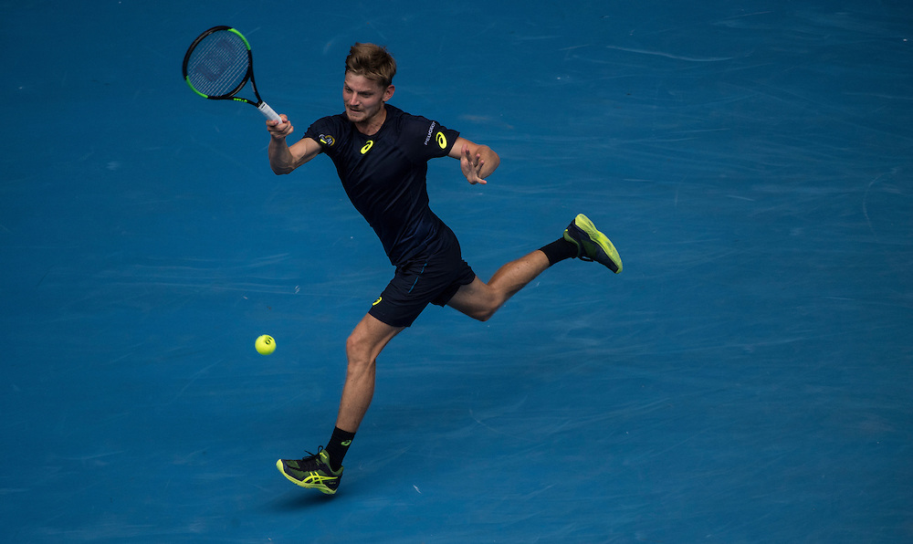David Goffin of Belgium on day eight of the 2017 Australian Open at Melbourne Park on January 23, 2017 in Melbourne, Australia.<br /> (Ben Solomon/Tennis Australia)