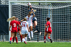 NORMAL, IL - August 10:  Bella Henderson grabs the ball before it can be headed by Ashley Santos during a nonconference exhibition women's soccer match between the Southern Illinois Edwardsville Cougars and the Illinois State Redbirds August 10 2019 on Adelaide Street Field in Normal IL (Photo by Alan Look)