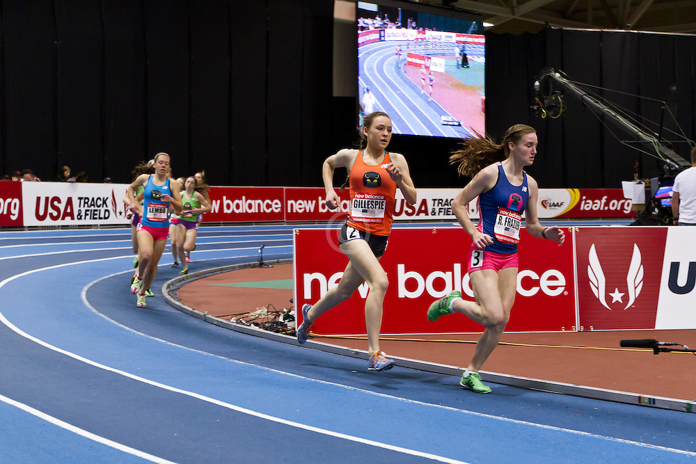 New Balance Indoor Grand Prix track meet: Junior GIrls Mile, Ryen Frazier , Sarah Gillespie