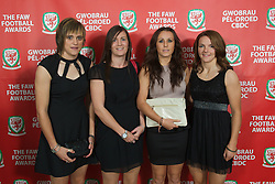 CARDIFF, WALES - Monday, October 8, 2012: Wales' women's players Rhian Knokes, Helen Lander, Natasha Harding and Loren Dykes arrive for the FAW Player of the Year Awards Dinner at the National Museum Cardiff. (Pic by David Rawcliffe/Propaganda)