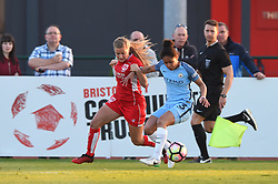 Olivia Fergusson of Bristol City Women battles with Demi Stokes of Manchester City Women - Mandatory by-line: Paul Knight/JMP - 09/05/2017 - FOOTBALL - Stoke Gifford Stadium - Bristol, England - Bristol City Women v Manchester City Women - FA Women's Super League Spring Series