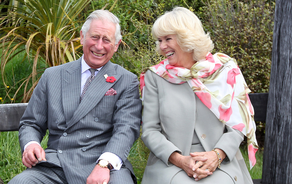 Prince Charles, Prince of Wales and Camilla, Duchess of Cornwall continue to laugh after a bumble bee took a liking to Prince Charles during their visit to the Orokonui Ecosanctuary, Dunedin, New Zealand, Thursday, November 05, 2015. Credit:SNPA / Getty, Rob Jefferies **POOL**