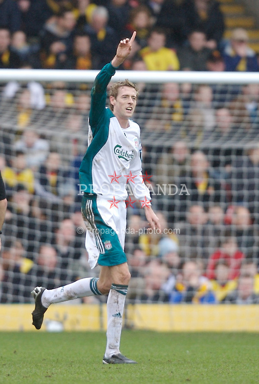 Watford, England - Saturday, January 13, 2007: Liverpool's Peter Crouch celebrates scoring the second goal against Watford during the Premiership match at Vicarage Road. (Pic by David Rawcliffe/Propaganda)
