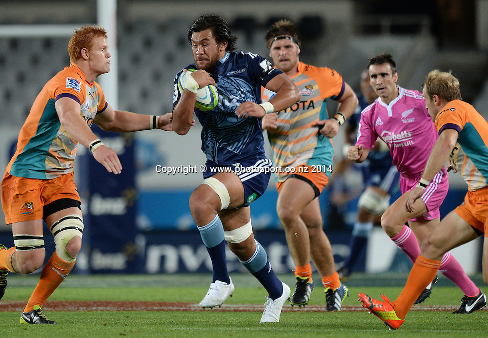 Steven Luatua. Blues v Cheetahs. Investec Super Rugby Season. Eden Park, Auckland, New Zealand. Saturday 22 March 2014. Photo: Andrew Cornaga/Photosport.co.nz