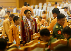 U Henry Van Htee Yu (C) of Myanmar's ruling National League for Democracy (NLD) attends a session at the Union Parliament in Nay Pyi Taw, Myanmar, March 15, 2016. U Htin Kyaw of Myanmar's ruling National League for Democracy (NLD), led by Aung San Suu Kyi, won the presidential election Tuesday with the highest number of votes through secret voting, becoming the country's new president for the next five-year term. According to the voting result, U Myint Swe from the military becomes First Vice President, while U Henry Van Htee Yu Second Vice President. EXPA Pictures © 2016, PhotoCredit: EXPA/ Photoshot/ U Aung<br /> <br /> *****ATTENTION - for AUT, SLO, CRO, SRB, BIH, MAZ, SUI only*****