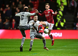 Josh Brownhill of Bristol City battles for the ball with  Paul Pogba of Manchester United  - Mandatory by-line: Joe Meredith/JMP - 20/12/2017 - FOOTBALL - Ashton Gate Stadium - Bristol, England - Bristol City v Manchester United - Carabao Cup Quarter Final