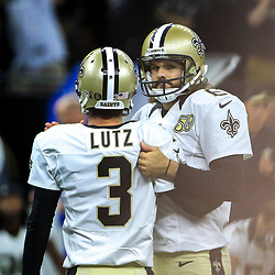 Sep 11, 2016; New Orleans, LA, USA;  New Orleans Saints punter Thomas Morstead (6) consoles kicker Will Lutz (3) after he misses a 61 yard field goal attempt as time expired during the fourth quarter of a game against the Oakland Raiders at the Mercedes-Benz Superdome. The Raiders defeated the Saints 35-34. Mandatory Credit: Derick E. Hingle-USA TODAY Sports