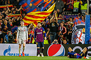 Barcelona forward Lionel Messi (10) at the end of the match during the Champions League semi-final leg 1 of 2 match between Barcelona and Liverpool at Camp Nou, Barcelona, Spain on 1 May 2019.
