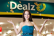Repro Free: 01/11/2012.Model Daniella Moyles finds her pot of gold with the great savings at the launch of the new Dealz store in Dun Laoghaire, making this the 21st Dealz store to open in Ireland to date.  Situated in Bloomfield Shopping centre, Dealz Dun Laoghaire has created 30 new Irish jobs, brining the total number of jobs created in Ireland to 550. Commenting at the new store opening, Dealz business manager Brendan Doyle said: ?We are very excited to be expanding the Dealz portfolio in Ireland with the opening of our new store in Dun Laoghaire. Dealz is committed to brining amazing value to customers every day and we are looking forward to expanding further across the republic of Ireland. Pic Andres Poveda.