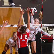 26 August 2016: The San Diego State Aztecs took on the Marist Red Foxes to open up the season.  OH Alexandra Psoma (1) spikes the ball past the defense of Marist in the first set. The Aztecs swept the Red Foxes 3-0 in their opening match of the Aztec Invitational at Peterson Gym on the campus of SDSU. www.sdsuaztecphotos.com