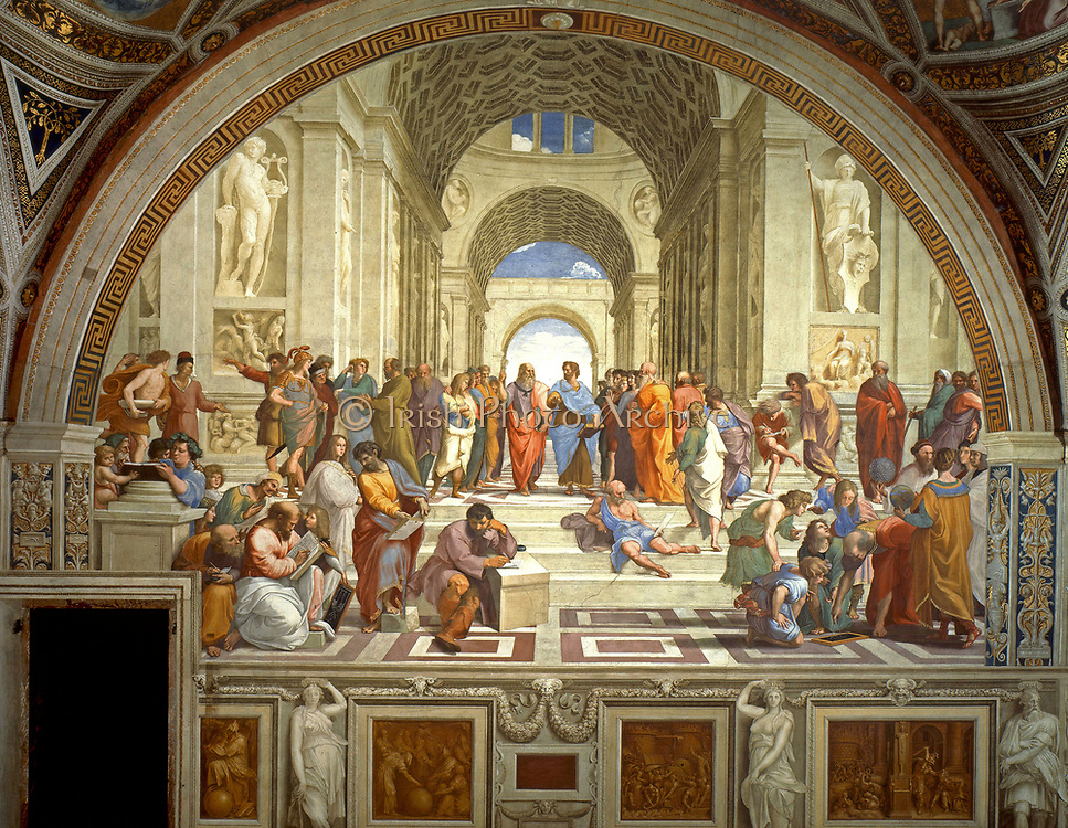 Rafael Sanzio da Urbino (April 6 or March 28, 1483   April 6, 1520), The School of Athens, or Scuola di Atene in Italian, is one of the most famous paintings by the Italian Renaissance artist Raphael. It was painted between 1510 and 1511 as a part of Raphael's commission to decorate with frescoes the rooms now known as the Stanze di Rafael, in the Apostolic Palace in the Vatican.