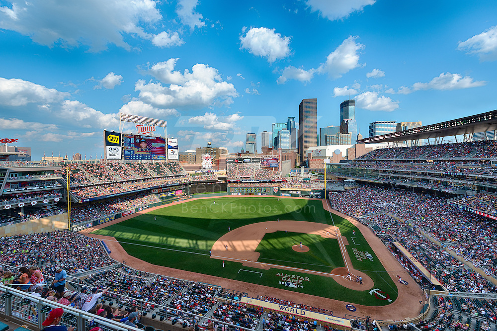 [Note:  This photo was created by combining multiple exposures into a high dynamic range image during post-processing].  A general view of Target Field during the Futures Game as part of All Star Sunday on July 13, 2014 in Minneapolis, Minnesota.  Photo by Ben Krause
