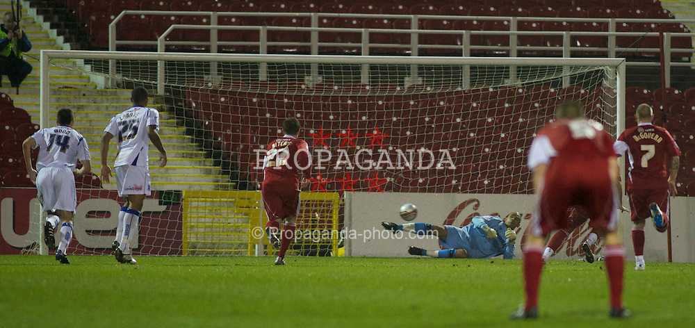 SWINDON, ENGLAND - Tuesday, January 25, 2011: Tranmere Rovers'  gpalkeeper saves Swindon Town's Charlie Austin (hidden) penalty to keep the score 0-0 during the Football League One match at the County Ground. (Photo by Gareth Davies/Propaganda)