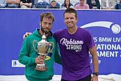 LIVERPOOL, ENGLAND - Sunday, June 23, 2019: Champion Paulo Lorenzi (ITA) (L) holds the Boodle & Dunthorne Trophy alongside runner-up Robert Kendrick (USA) after the Men's Final during Day Four of the Liverpool International Tennis Tournament 2019 at the Liverpool Cricket Club. Lorenzi beat Kendrick 7-6 (3), 6-2. (Pic by David Rawcliffe/Propaganda)