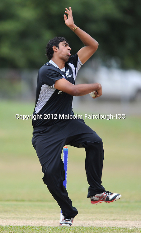 TOWNSVILLE, AUSTRALIA - AUGUST 20:  Ish Sodhi of New Zealand bowls during the ICC U19 Cricket World Cup 2012 Quarter Final match between New Zealand and the West Indies at Endeavour Park on August 20, 2012 in Townsville, Australia.  (Photo by Malcolm Fairclough-ICC/Getty Images)