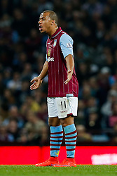 Gabriel Agbonlahor of Aston Villa looks dejected after Charlie Austin of QPR (not pictured) scores a goal to make it 2-3 - Photo mandatory by-line: Rogan Thomson/JMP - 07966 386802 - 07/04/2015 - SPORT - FOOTBALL - Birmingham, England - Villa Park - Aston Villa v Queens Park Rangers - Barclays Premier League.