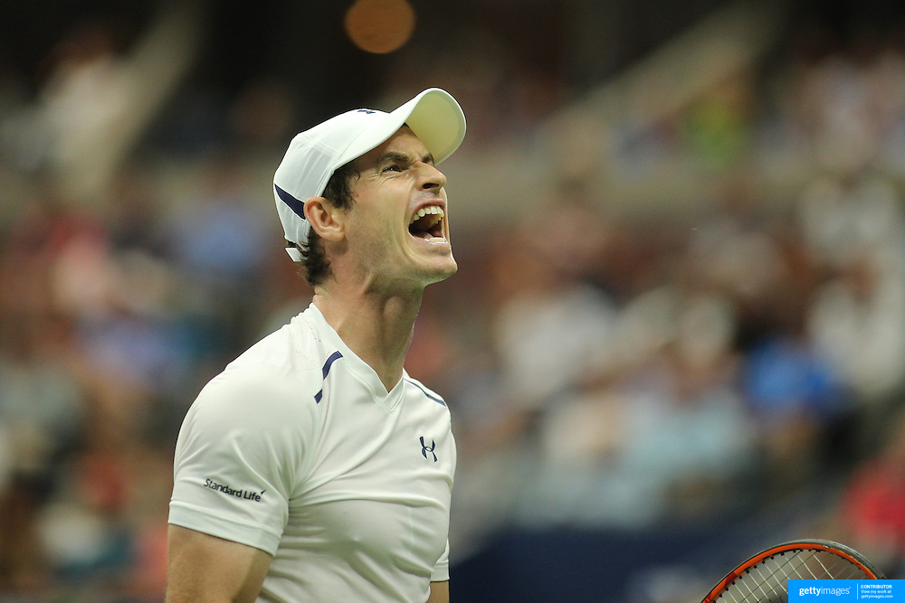 2016 U.S. Open - Day 10  Andy Murray of Great Britain reacts during his match against Kei Nishikori of Japan in the Men's Singles Quarterfinal match on Arthur Ashe Stadium on day ten of the 2016 US Open Tennis Tournament at the USTA Billie Jean King National Tennis Center on September 7, 2016 in Flushing, Queens, New York City.  (Photo by Tim Clayton/Corbis via Getty Images)