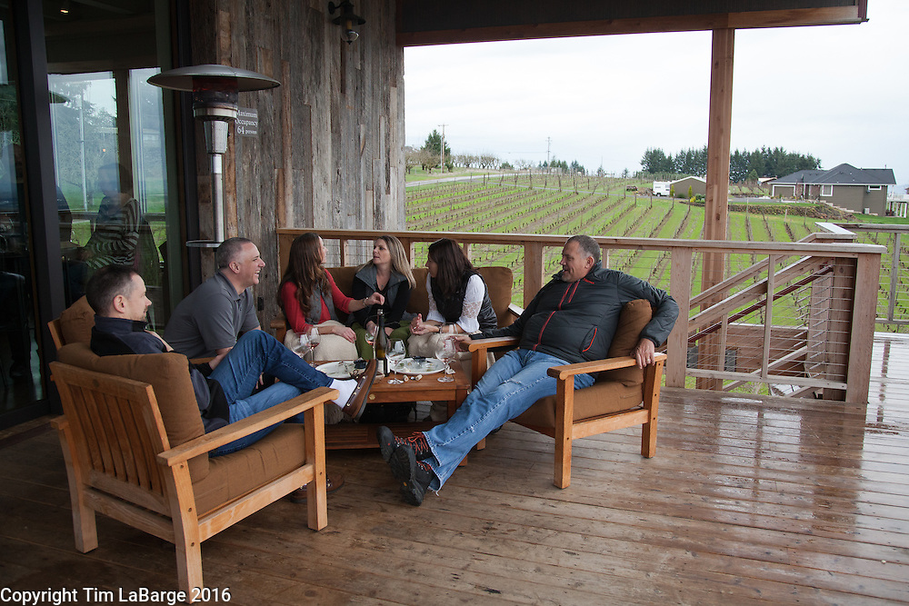 Enjoying wine at Brooks Wines near Amity, Ore. Photo © Tim LaBarge 2016