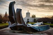 USA, Oregon, Salem, Oregon, Oregon Capitol at Sunset on New Year's Eve, Digital Composite, HDR.
