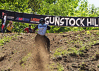 Logan Cipala gets to the top with the fastest time in the 450 class at 7.083 during Gunstock's Hillclimb on Wednesday.  (Karen Bobotas/for the Laconia Daily Sun)
