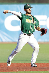 08 July 2017: Santiago Chirino during a Frontier League Baseball game between the Traverse City Beach Bums and the Normal CornBelters at Corn Crib Stadium on the campus of Heartland Community College in Normal Illinois
