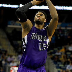 February 6, 2012; New Orleans, LA, USA; Sacramento Kings power forward DeMarcus Cousins (15) against the New Orleans Hornets during the second half of a game at the New Orleans Arena. The Kings defeated the Hornets 100-92.  Mandatory Credit: Derick E. Hingle-US PRESSWIRE