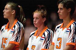 19-06-2000 JAP: OKT Volleybal 2000, Tokyo<br /> Nederland - Japan 1-3 / Ingrid Visser, Jettie Fokkens en Francien Huurman