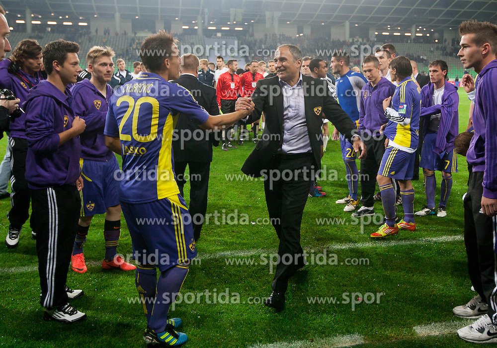 Goran Cvijanovic and Darko Milanic of Maribor celebrate after the football match between NK Celje and NK Maribor in final of Hervis Cup 2011/12, on May 23, 2012 in SRC Stozice, Ljubljana, Slovenia. Maribor defeated Celje after penalty shots and became Slovenian Cup Champion. (Photo by Vid Ponikvar / Sportida.com)