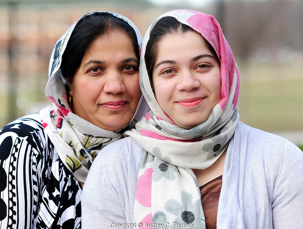 Staten Island, NY:  Saturday, February 26, 2012-- Zujaja Tauqeer, 21, of Staten Island, a senior at Macaulay Honors College at Brooklyn College, is the only scholar from a New York college chosen for the Rhodes Scholarship in 2011.  At left is her mother Dr. Ayesha Tauqeer.  © Audrey C. Tiernan