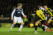Millwall FC midfielder George Saville challenges for the ball during the Sky Bet League 1 match between Burton Albion and Millwall at the Pirelli Stadium, Burton upon Trent, England on 1 December 2015. Photo by Aaron Lupton.