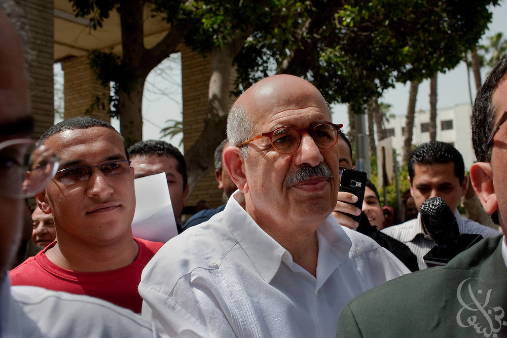 Egyptian Nobel Peace laureate and former UN atomic watchdog chief, Mohamed ElBaradei leaves the Ghoneim Urology  and Nephrology hospital during a visit to the  Egyptian Nile delta town of El Mansoura April 2, 2010. ElBaradei is thought to be a possible candidate to run against Egyptian President Hosni Mubarak in the 2011 presidential election, although he has not made a formal declaration as of yet.