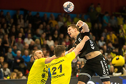 Dimitrij Kuttel of Kadetten Schaffhausen during handball match between RK Gorenje Velenje and Kadetten Schaffhausen in VELUX EHF Champions League, on November 25, 2017 in Rdeca Dvorana, Velenje, Slovenia. Photo by Ziga Zupan / Sportida