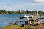Kite flying off of dock near Chauncey Creek in Kittery Maine