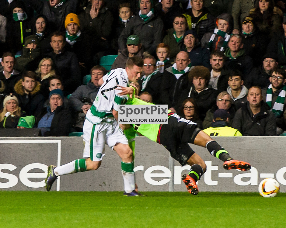 Callum McGregor gets past the attentions of Kenny Tete as Celtic host Ajax at Parkhead in the Europa League.<br /> &copy; Ger Harley/ SportPix.org.uk 26 November 2015
